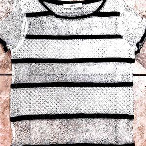 Loft Lace Sleeveless Top, White w/Black Trim Sz XS